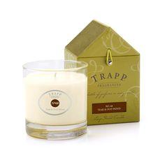 De geurkaarsen van Trapp Fragrances zijn zeer geconcentreerd van geur, en hebben zeer verrassende en stijlvolle geuren, zoals Teak & Oud Wood.