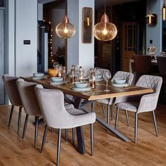 Bronx Dining Table & 6 Grey Chairs - Dining Table And Chairs - Dining Room Furniture - Furniture Dining Room Design, Modern Dining Table, Dining Table Decor, Grey Dining Tables, Dining Room Industrial, Dining Room Inspiration, Blue Dining Chair, Dining Table Chairs, Dining Table