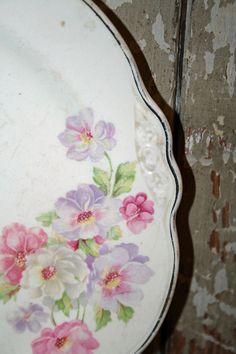 Beautiful Vintage Plate  Shabby Chic by AVintageSeason on Etsy