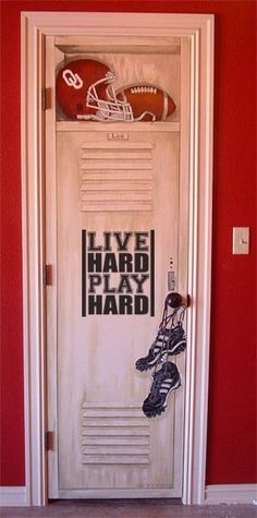 Live Hard Play Hard vinyl lettering sports decal boys bedroom wall art For G's Closet door Bedroom Doors, Bedroom Wall, Bedroom Ideas, Boy Room, Kids Room, Football Rooms, Boys Football Bedroom, Basketball Bedroom, Boy Sports Bedroom