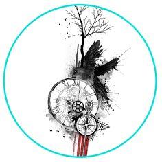 Custom tattoo designs, illustrations and wide variety of artwork and artistic prints. Trash Polka Art, Trash Polka Tattoo, Tattoo Sketches, Tattoo Drawings, Geometric Tattoo Sketch, Tatuaje Trash Polka, Spartan Tattoo, Raven Tattoo, Watch Tattoos