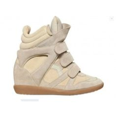 Isabel Marant Bekket Suede Wedge Sneakers Natural