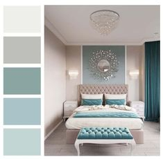 Have trouble mixing and matching color in your home? Not sure what the RIGHT paint colors are for your room? A Room Color Story gives you a color palette for your room and coordinating paint colors fo Bedroom Colour Palette, Bedroom Wall Colors, Bedroom Color Schemes, Teal Bedroom Walls, Teal Master Bedroom, Calming Bedroom Colors, Teal Color Schemes, Grey Teal Bedrooms, Best Color For Bedroom