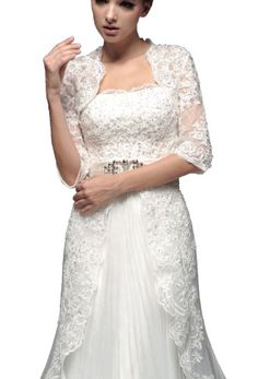 Exquisite 1/2 Sleeve Length Lace Wedding Jacket (16, Ivory) Crystal Dresses http://smile.amazon.com/dp/B00I665KLE/ref=cm_sw_r_pi_dp_hHEPtb0F7SXQWWV3