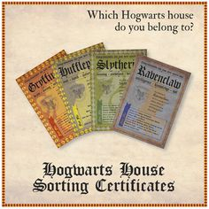 Hogwarts House Certificates by MishyDee on Etsy