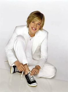 Ellen DeGeneres: Comedian, talk show host and openly gay celebrity (I admit it she is so adorable and I have a crush on her! <3)