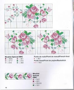This Pin was discovered by Sev Cross Stitch Rose, Cross Stitch Borders, Cross Stitch Flowers, Cross Stitch Charts, Cross Stitching, Cross Stitch Patterns, Rosa Shabby Chic, Cross Stitch Collection, Vintage Cross Stitches