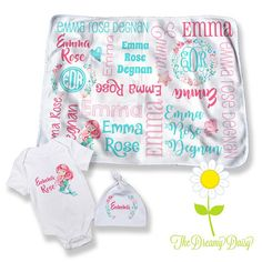 Mermaid Personalized Baby Blanket  Optional Bodysuit & Hat