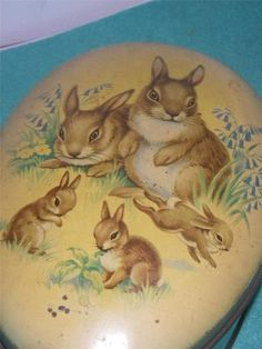 old tin box EASTER RABBIT sweet tin box