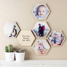 Personalised Photo Wooden Hexagon Wall Art Set