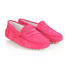 Tods Pink Suede Moccasins