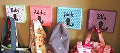 Childrens Custom Name Hooks by blueyodey on Etsy, $9.00 (But I'm gonna try my hand at making them.)