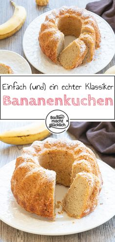 Great recipe for a super juicy banana cake. The banana cake is a real classic. The simple sponge cake also tastes particularly good to children. In addition, the recipe for the banana cake can be wonderfully modified. Corn Salad Recipes, Potluck Recipes, Great Recipes, Cake Recipes, Banana Recipes, Food Cakes, Cakes And More, Food Items, Fruits And Veggies