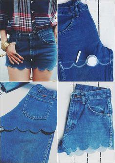 jeans-shorts-selber-machen-muschel-muster denim shorts-yourself-make-shell-padrão Outfit Jeans, Shorts Outfits Women, Summer Outfits Women, Short Outfits, Diy Shorts, Diy Jeans, Modest Shorts, Long Shorts, Summer Shorts