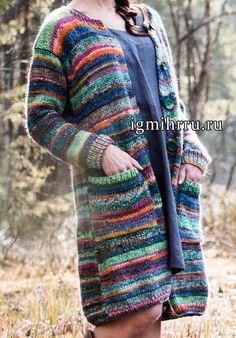 Меланжевое пальто с карманами. Вязание спицами