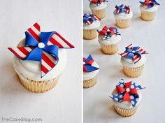 Patriotic Pinwheels :: Cupcake Monday | The TomKat Studio