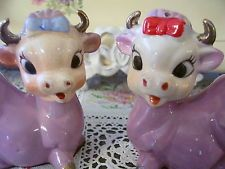 Vintage Japan World Creations by Orimco salt pepper shakers  purple cows
