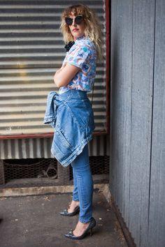 Beth Jones of @bjonesstyle does denim on denim like a boss in Hudson's Barbara High Waist Skinnies