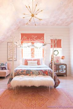 A Little Christmas Decor in Addison's Coral Girl's Bedroom... Sharing a tour of a little young girl's fun coral and white bedroom! alabaster-shiplap-whitewashed-hardwoods-wallpaper-ceiling-canopy-bed-roman-shades-peach-rose-quartz-doors