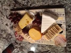 Best cheese platter ever .... Gouda,Brie,Swiss plus crackers and meat  yum