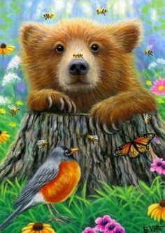This would make a great gift for a bear or wildlife lover! Created with watercolor gouache and acrylics on professional archival watercolor paper. Signed dated and titled. Cute Animal Illustration, Cute Animal Drawings, Cute Drawings, Illustration Art, Wildlife Paintings, Wildlife Art, Animal Paintings, Bear Art, Bear Cubs