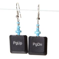 Okay not my usual style, but these are darn cute. Also need these with the 'Esc' key :) Recycled Jewelry, Recycled Crafts, Geek Jewelry, Jewelry Crafts, Jewellery, Arts And Crafts Projects, Crafts For Teens, Steampunk Accessories, Beading Projects