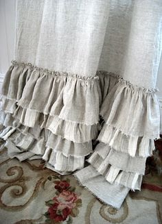 "Linen ruffle curtains… but in white! Need to learn how to ""fray"" the bottom so… Linen ruffle curtains… but in white!"