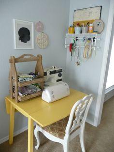 Cute sewing corner.  One day!