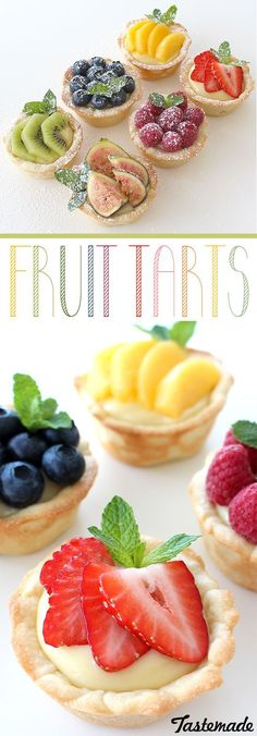 Look Over This A twist on regular fruit tarts – the crust is actually a cookie! The post A twist on regular fruit tarts – the crust is actually a cookie!… appeared first on 2019 Recipes . Tart Recipes, Fruit Recipes, Sweet Recipes, Baking Recipes, Cookie Recipes, Dessert Recipes, Baking Ideas, Summer Recipes, Mini Fruit Tarts
