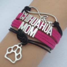 Chihuahua Mom Bracelet✨3 available✨ Great bracelet to wear to show how much u love your chihuahua. This bracelet measures about 7 inches plus it has an additional chain extender on the back. New in package. Price is firm unless bundled. I included some pics of my little lady for your viewing enjoyment! Lol Jewelry Bracelets