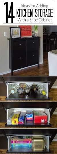 Add kitchen storage to a small space using an IKEA Hemnes Shoe Cabinet. Click for photos of 14 different ideas!
