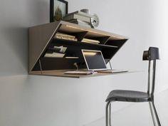 Folding Wall Desk Design Best Wall Mounted Desk Designs For Small Homes Wall Mounted Desk, Wall Desk, Wall Shelves, Storage Shelving, Storage Ideas, Shelf Desk, Bureau Design, Office Furniture, Cool Furniture