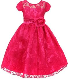Big Girls Sash Lace Overlay Special Occasion Flowers Girls Dresses Fuchsia 16 S30H28 ** Want to know more, click on the image.