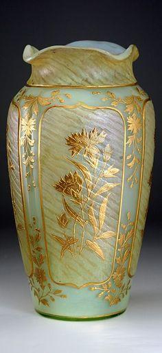 c.1900 URANIUM IRIDESCENT GLASS VASE WITH RAISED GILT FLORAL DECORATION, PROBABLY HARRACH