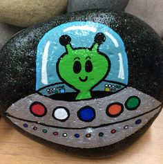Space, alien, UFO, flying saucer, Painted rock