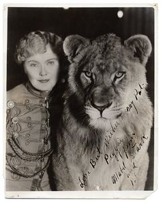 Mabel Stark with a lion. Love this photo.