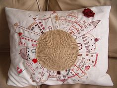 Embroidered pillow - fun concept