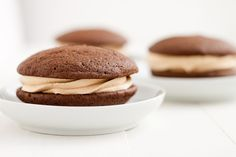 NOT GF but looks soooo yummy!!! Chocolate Whoopie Pies with Peanut Butter and Dulce de Leche Buttercream