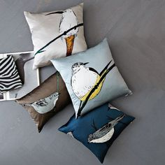 bird pillows, not sure what it is I like about these. I'd like to paint an owl one for the boy