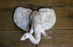 Paper Mache Animal Head Sculpture - African Elephant Head - Faux Taxidermy by PaperUnleashed on Etsy https://www.etsy.com/listing/197197715/paper-mache-animal-head-sculpture