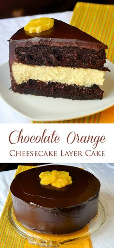 Chocolate Orange Cheesecake Layer Cake - one purely decadent dessert fusion that includes layers of homemade scratch cake with a creamy orange cheesecake in the middle then covered by even more chocolate!