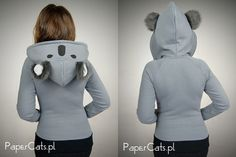 Koala hoodie ears kawaii animal grey sweet harajuku by PaperCatsPL