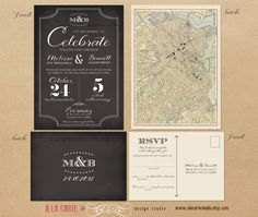 Label Style Chalkboard Inspired Wedding Invitation and RSVP Card - Elegant Vintage Wedding Suite