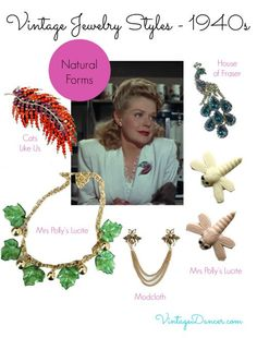 1940s jewelry trends: Natural forms. Nature was again a source of inspiration in jewelry design during the 1940s. Learn more at VintageDancer.com/1940s