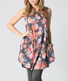 Another great find on #zulily! 42POPS Charcoal Floral Pocket Swing Tunic by 42POPS #zulilyfinds
