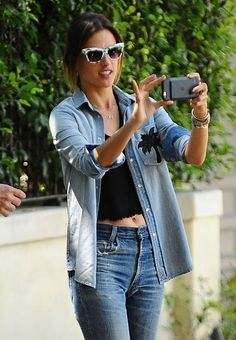 Alessandra Ambrosio Look All Jeans  Out in Santa Monica June-2016  actress Alessandra Ambrosio