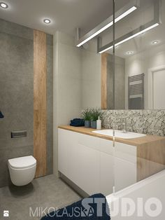 Aranżacje wnętrz - Łazienka: łazienka z niebieskim akcentem - MIKOŁAJSKAstudio. Przeglądaj, dodawaj i zapisuj najlepsze zdjęcia, pomysły i inspiracje designerskie. W bazie mamy już prawie milion fotografii!