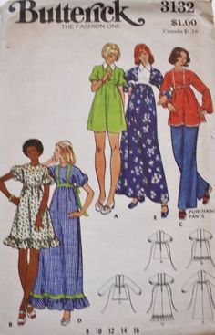 Baby Doll tunic or dress and wide legged pants sewing pattern from the 70s.   Butterick 3132 1970s Choice of: Bust 31.5 Pattern is uncut and complete. Factory Folded. Envelope is in mint condition. OR Size 16 Bust 38  Pattern is uncut and complete. Factory Folded. Envelope has water marks, small printing on the envelope. It did not go thru to the tissue.  To view more patterns from this shop please visit: https://www.etsy.com/shop/BluetreeSewingStudio  To learn how to chan...