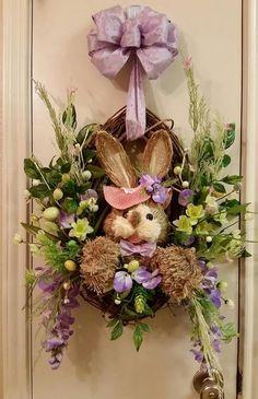 Easter Spring Oval Grapevine Wreath, Basket Door Wreath,Spring Wreath, Summer Wreath,Bunny Wreath,Door Basket Wreath Decor,Grapevine Wreath by SouthTXCreations on Etsy