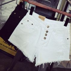 """Item Type: Shorts Material: Denim Pattern: Solid Color Style: Fashion Color: White,Black Size: XS (US size) Bust: 31-33"""", Waist: 23-25"""", Hips: 33-35"""" S (US size) Bust: 33-35"""", Waist: 25-27"""", Hips: 35-"""